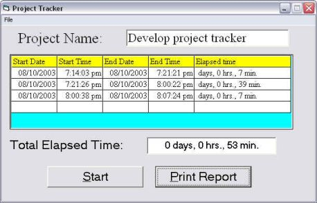 a screenshot of Project Tracker