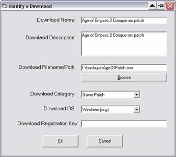 The add/modify download interface for Download Database
